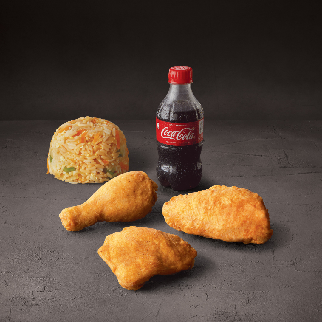 3 PIECES WITH FRIED RICE & 300ML COKE